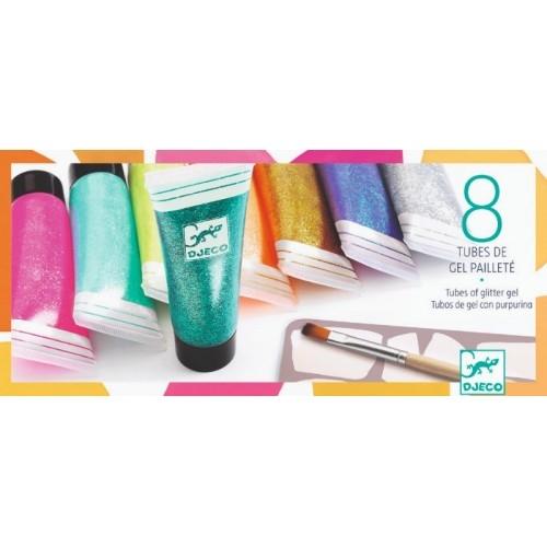8 Culori cu sclipici Djeco glitter gel